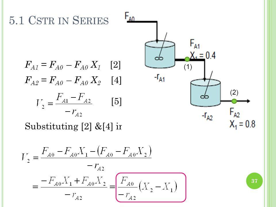 5.1 Cstr in Series FA1 = FA0 – FA0 X1 [2] FA2 = FA0 – FA0 X2 [4] [5]